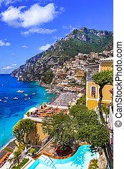 merveilleux, beau, repères, voyage, côte, positano, amalfi, holidays., italie, -, été, populaire