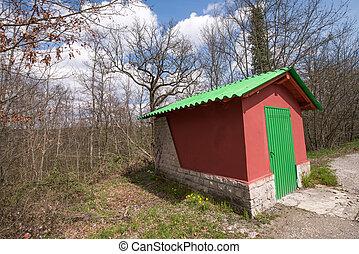 merveilleux, rouge vert, petite maison, à, les, côté, de, a, campagne, ro