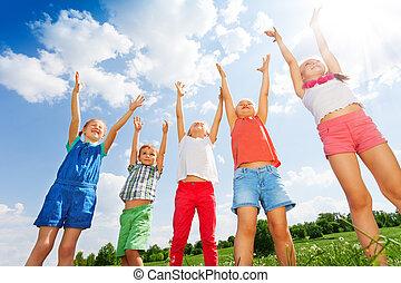 merveilleux, sauter, cinq, enfants, air