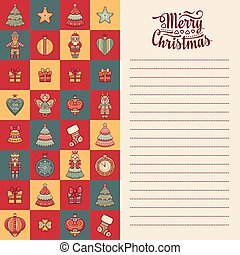 Mery Christmas template for greeting card