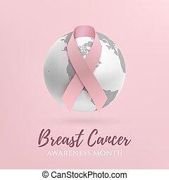 mes, cáncer, conocimiento, design.