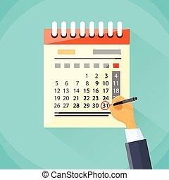 mes, día, calendario, pluma, círculo, rojo, último, fecha, ...