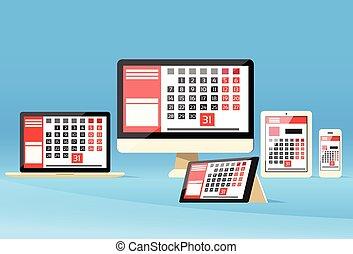 mes, día, tableta, dispositivo, digital, fecha tope, ...