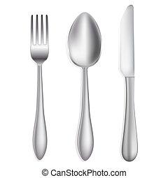 mes, en, vork, op wit