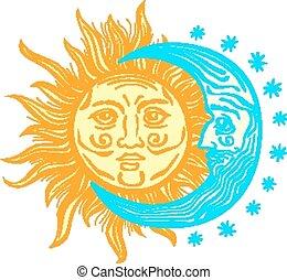 mes, estilo, folklore, retro, sol, vector, estrellas, vendimia