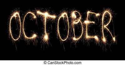 mes, octubre, sparkler