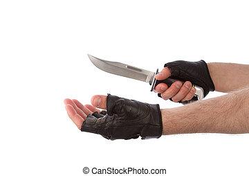 mes, uit, vasthouden, rover, hand