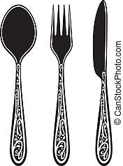 mes, vork, en, lepel