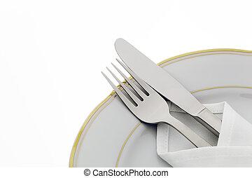 mes, vork, en, schaaltje