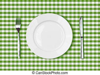mes, wit bord, en, vork, op, groene, picknick, tafelkleed