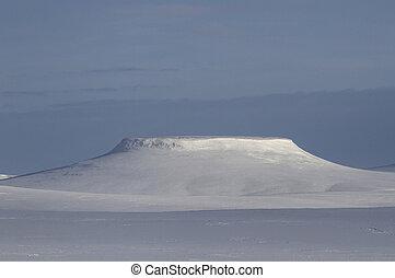 mesa on Bering Island winter day