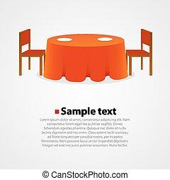 mesa redonda, con, mantel, y, dos, sillas