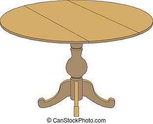 mesa redonda, de madera
