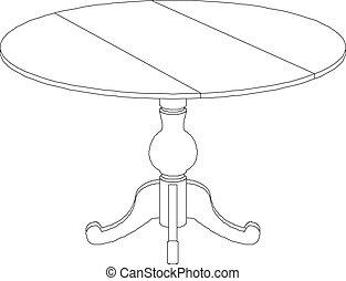 mesa redonda, dibujo