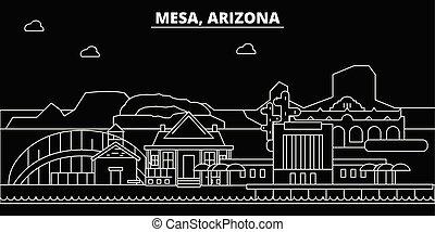 Mesa silhouette skyline. USA - Mesa vector city, american linear architecture, buildings. Mesa travel illustration, outline landmarks. USA flat icons, american line banner