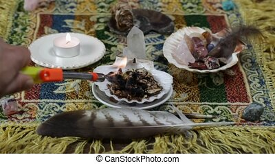 mesa metaphysical altar and shamanic tools