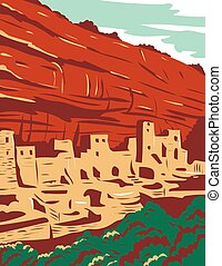 WPA poster art of the Mesa Verde National Park with Ancestral Puebloan cliff dwellings, notably the huge Cliff Palacedone in Colorado in works project administration or federal art project style.