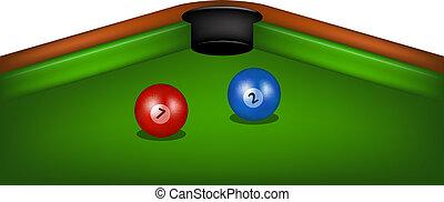 mesade billar, con, señal, y, pelotas