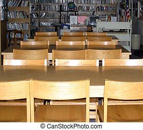 mesas, biblioteca