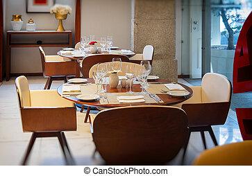 mesas, clásico, restaurante