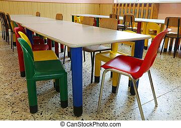 mesas, coloreado, sillas, pequeño, guardería infantil, ...