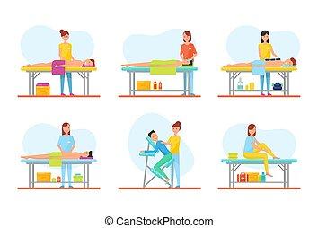 mesas, conjunto, clientes, vector, tratamiento, masaje