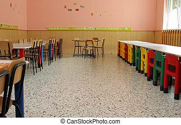 mesas, escuela, sillas, refectorio, cantimplora, nu