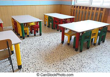 mesas, escuela, sillas, refectorio, niños pequeños