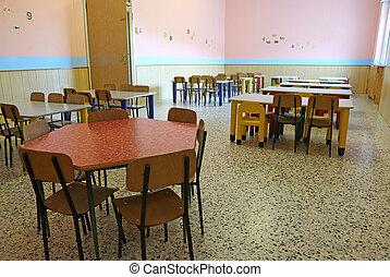 mesas, habitación, sillas, cenar, guardería infantil, ...