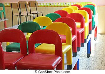 mesas, poco, 7, sillas, refectorio, refugio