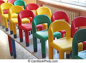 mesas, sillas, refectorio, 6, refugio, agradable