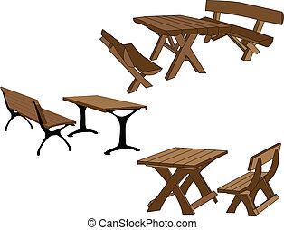 mesas, y, banco, en el parque