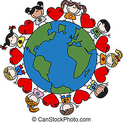 mescolato, bambini, amore, etnico, felice