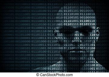 mescolato, codice, protezione, hacker, ecc., binario, digits., faccia, uomo, concetto, dati