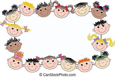 mescolato, cornice, bambini, etnico