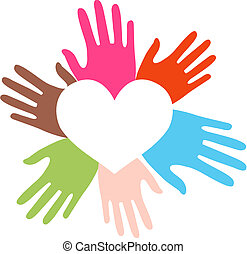 mescolato etnico, amore, mani