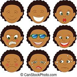 mescolato, ragazzo, afro, emoticon, emoji