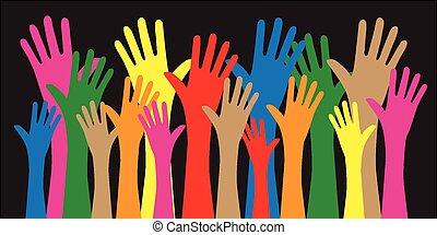 mescolato, raggiungimento, etnico, mani
