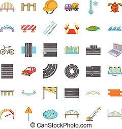mescolatore concreto, icone, set, cartone animato, stile