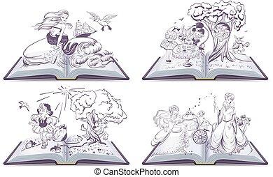 mese, tündér, állhatatos, nyitott könyv