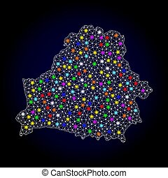 Mesh 2D Map of Belarus with Bright Light Spots