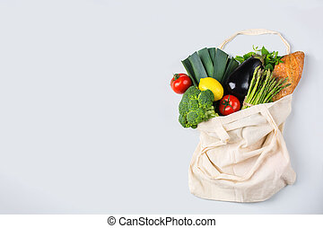 Mesh bag with fruits, vegetables. Zero waste, plastic free ...