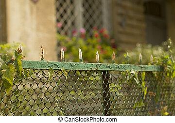 mesh fence near the house