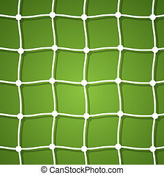 Mesh football goal on a green background