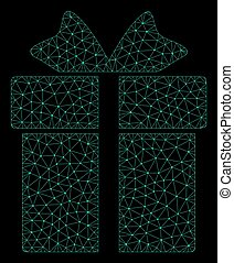 Mesh Gift in Polygonal Network Vector Style
