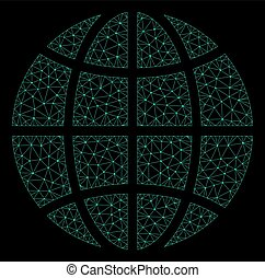 Mesh Globe in Polygonal Wire Frame Vector Style