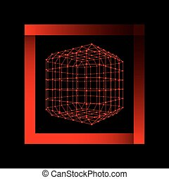 Mesh polygonal background. Scope of lines and dots. Ball of the lines connected to points. Molecular lattice. The structural grid of polygons.