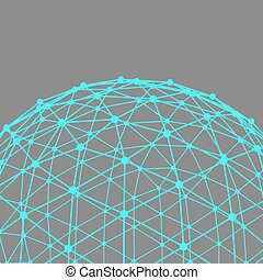Mesh polygonal background. Scope of lines and dots. Ball of ...