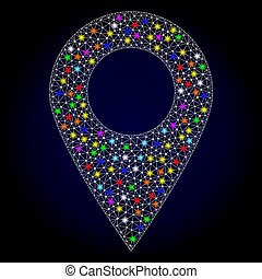 Mesh Polygonal Local Map Marker with Bright Light Spots
