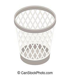 Mesh trash basket icon, isometric 3d style